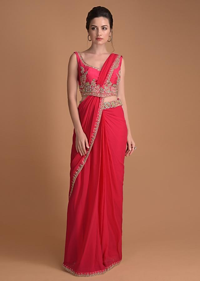 Fuschia Rose Ready Stitched Saree In Georgette With Floral Embroidery Online - Kalki Fashion