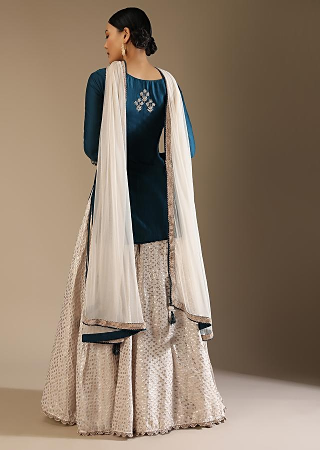Gentian Blue And Cream Skirt Suit With Gotta Patti Embroidery And Woven Lurex Design Online - Kalki Fashion