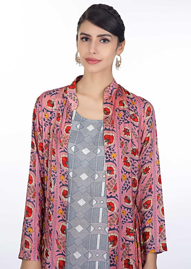 Blue Cotton Tunic Dress With Geometric Motif Paired With Floral Printed Cotton Jacket Online - Kalki Fashion