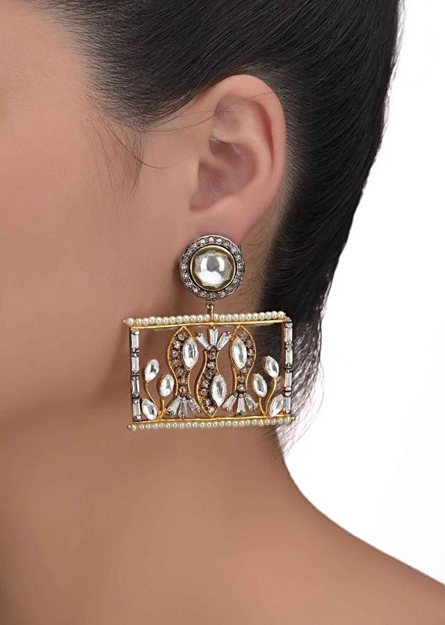 Geometric Shaped Earrings With Kundan, Bugle Beads, Stones And Pearls In Fish Pattern Online - Kalki Fashion