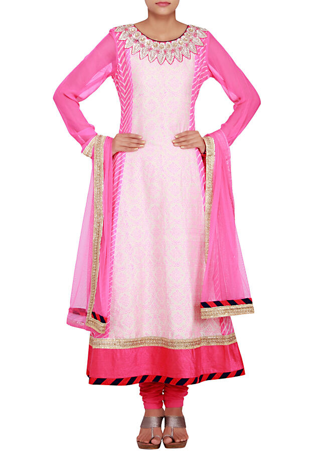 Georgette and raw silk anarkali in cream and pink embellished in print and zardosi only on Kalki