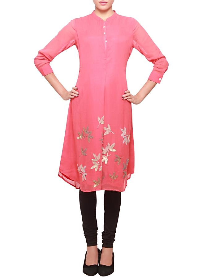 Georgette kurti featuring in Sharon red embellished in sequence embroidery only on kalki