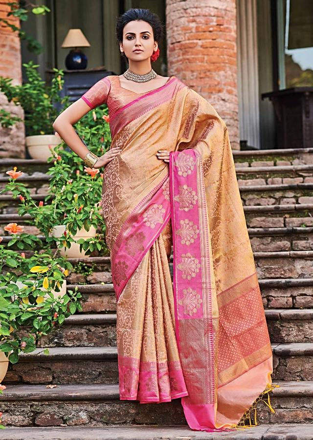 Ginger Beige Banarasi Saree In Silk With Golden Weaved Paisley And Floral Jaal Online - Kalki Fashion