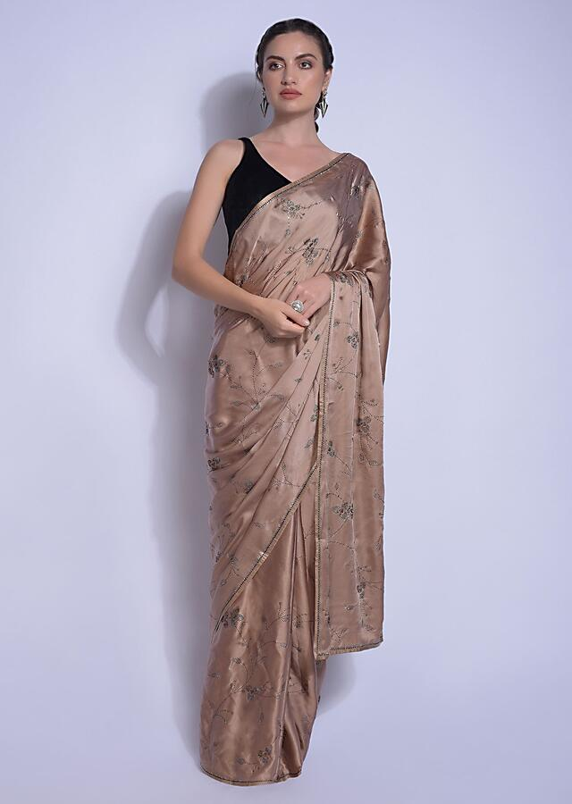 Ginger Beige Saree In Satin With Kundan In Leaves And Floral Motifs Online - Kalki Fashion