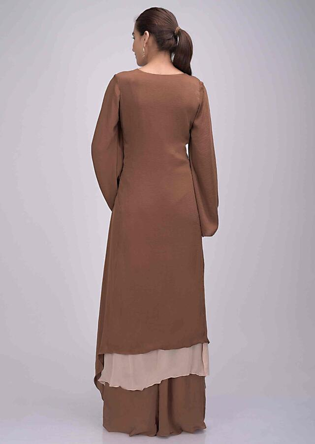Gingerbread Brown Suit In Satin Silk With Matching Chiffon Palazzo Bottoms Online - Kalki Fashion