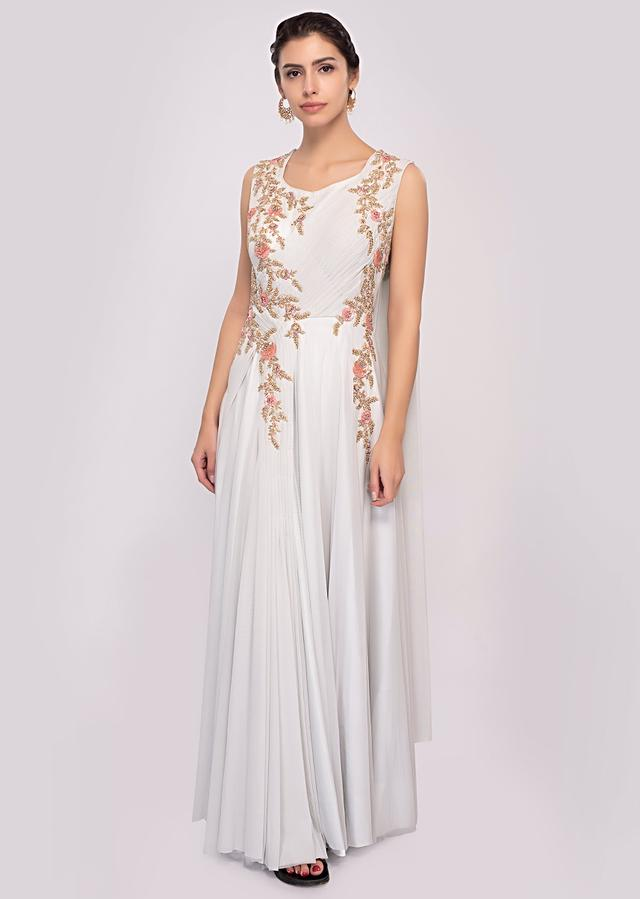 Glacial green embroidered net gown with side cowl drape only on Kalki