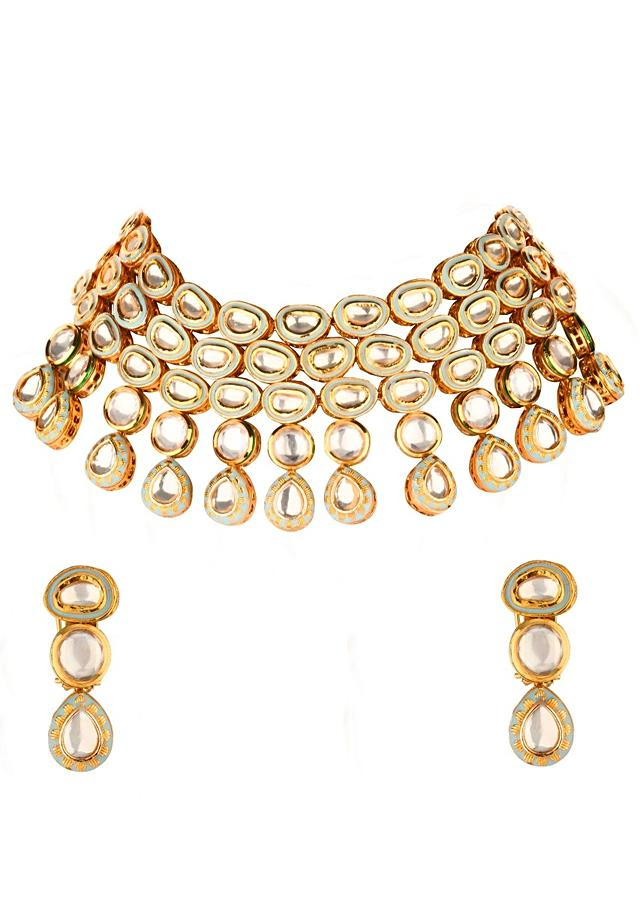 Glimmer And Gleam Gold Kundan Necklace And Earring Set With Enamel Work Online - Joules By Radhika