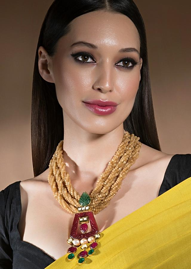 Gold Agate Layered Necklace With Hydro Kundan Polki, Carved Jades And Hydro Ruby Pendant Online - Joules By Radhika