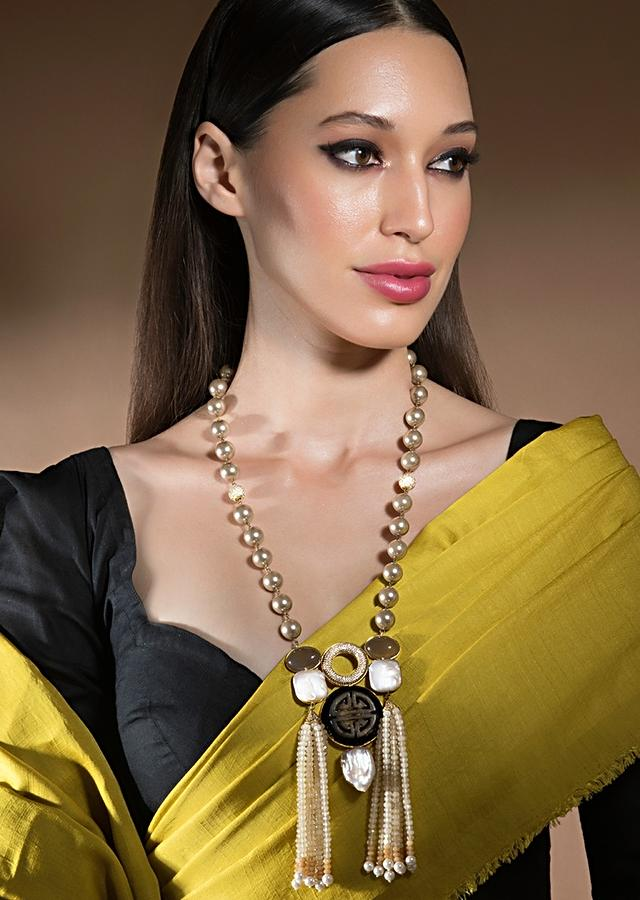 Gold Agate Necklace With Elaborate Pendant Made Of Swarovski, Baroque Pearls, Carved Agates And Tassel Detailing Online - Joules By Radhika
