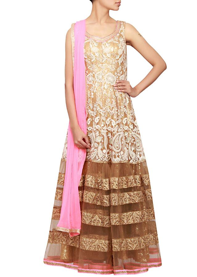 Gold anarkali in net embellished in zari and thread work only on Kalki