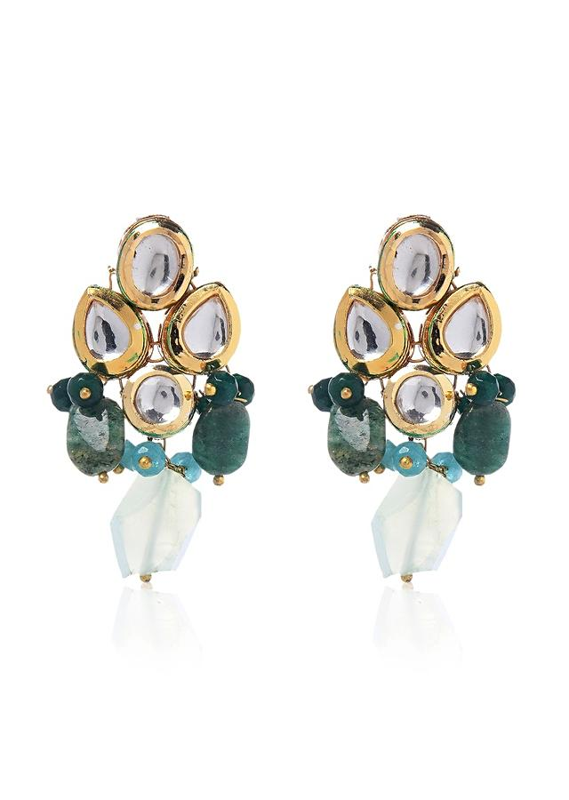 Gold And Green Earrings Hand Crafted With Kundan And Dangling Beads By Paisley Pop