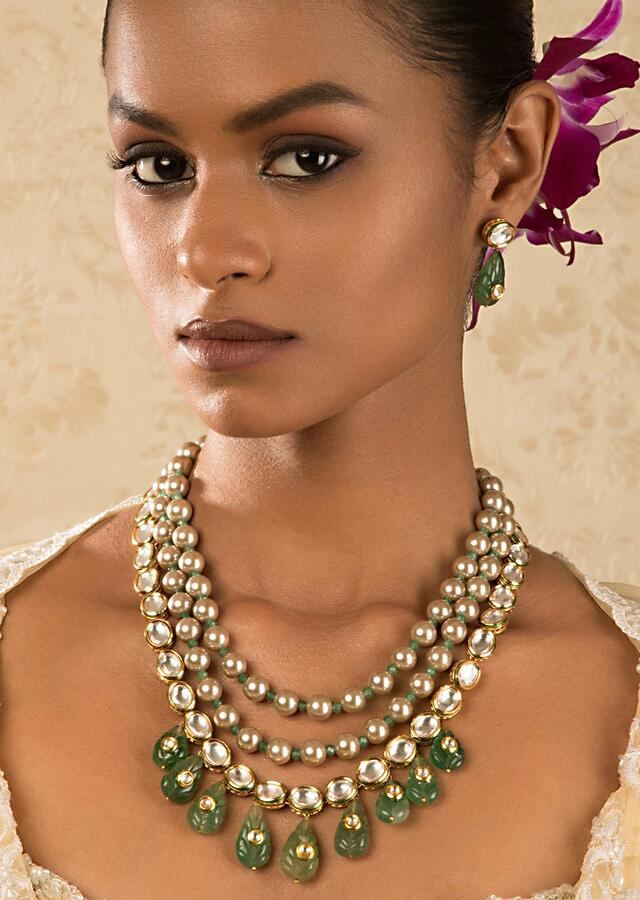 Gold And Green Layered Necklace And Earrings Set With Kundan, Jade Drops And Shell Pearls Online - Joules By Radhika