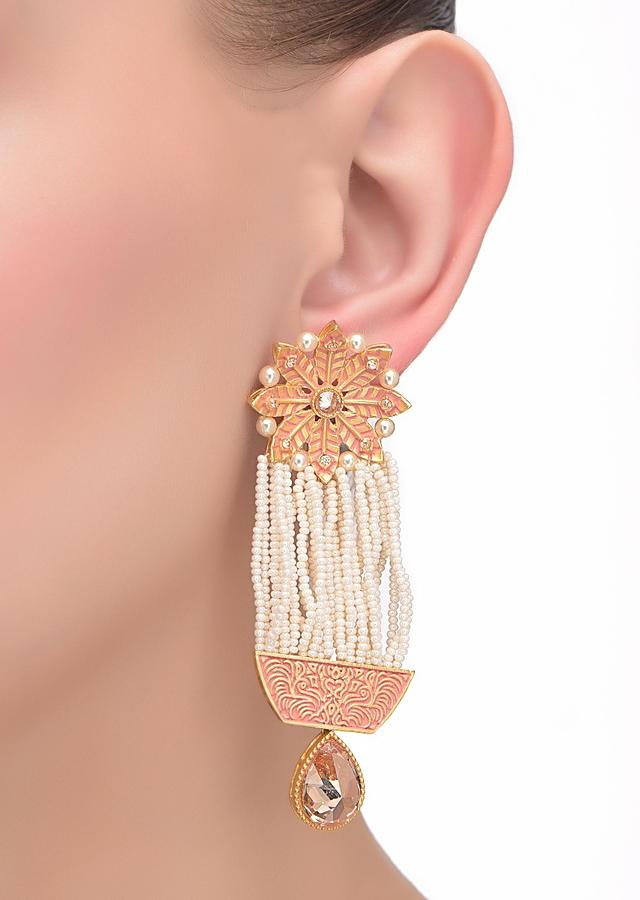 Gold And Pink Floral Earrings With Pearl Fringes And Dangling Pale Wheat Crystal Online - Kalki Fashion