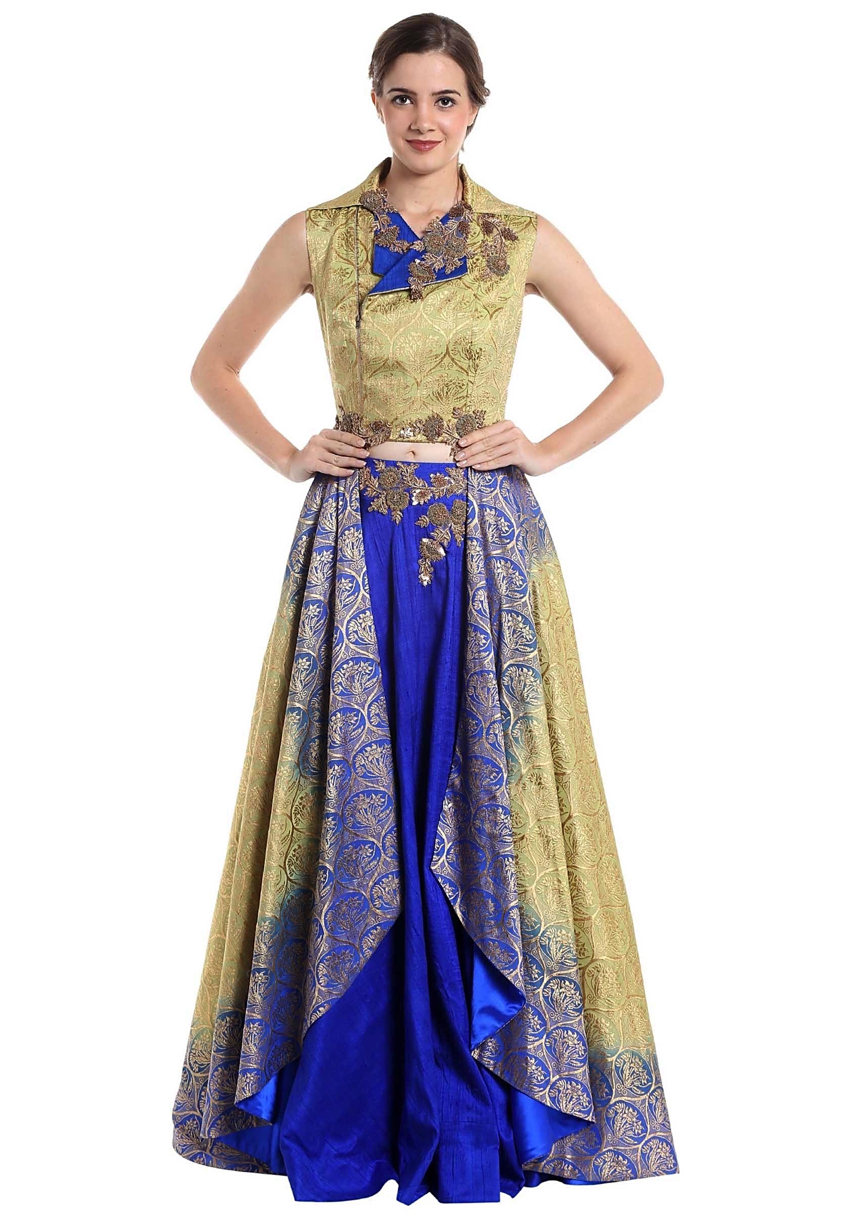 cfb77a9195525 Gold and royal blue raw silk and brocade skirt top with zari work only on  Kalki