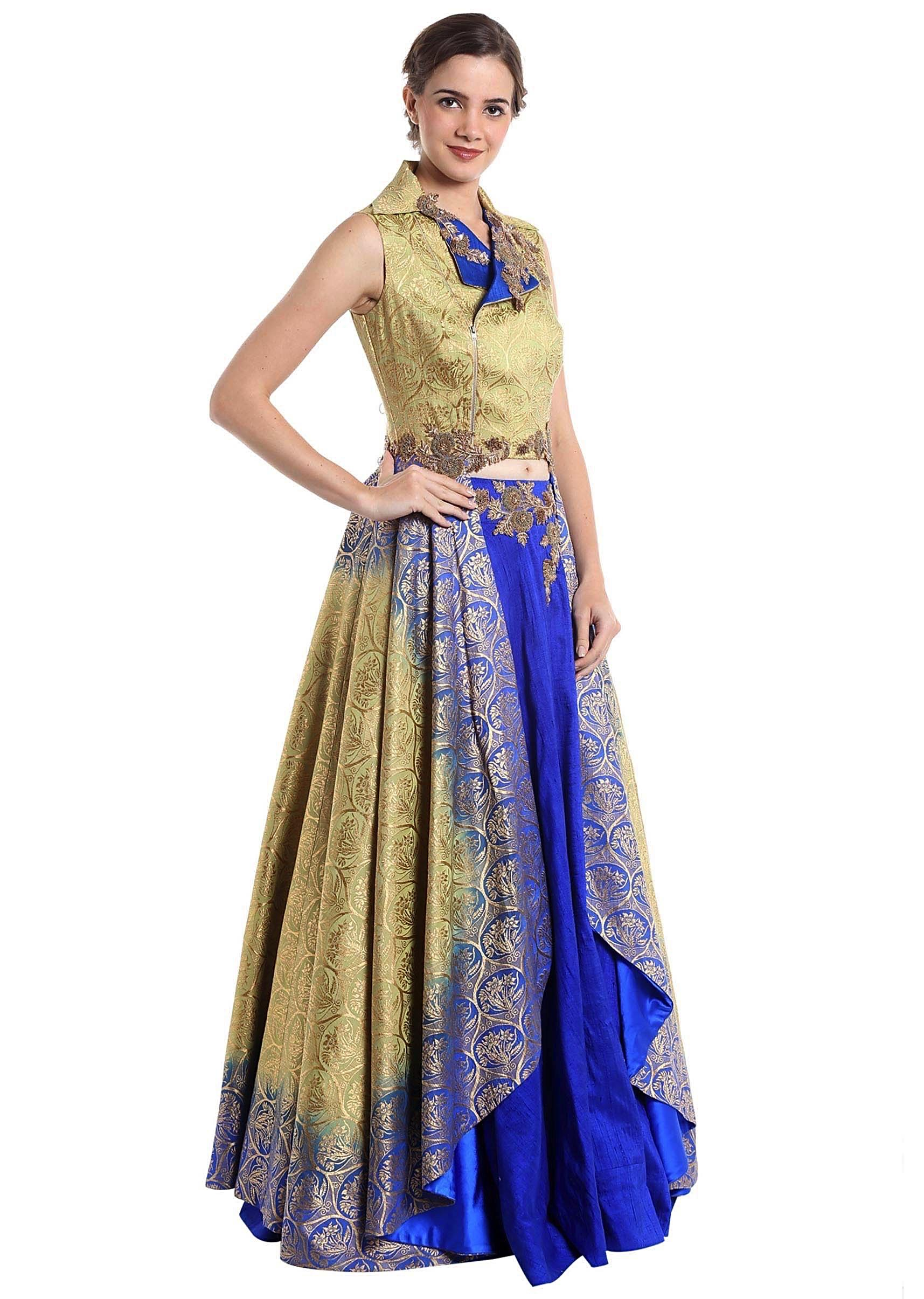 b9b674dd5c82d Gold and royal blue raw silk and brocade skirt top with zari work only on  Kalki