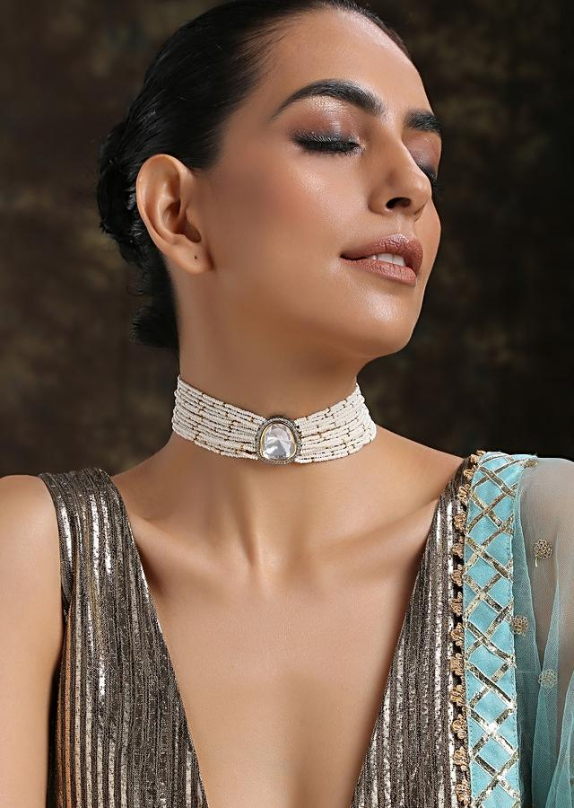 Gold And Silver Choker Necklace Hand Crafted With Moti Strings And Kundan Pendant In The Center By Paisley Pop
