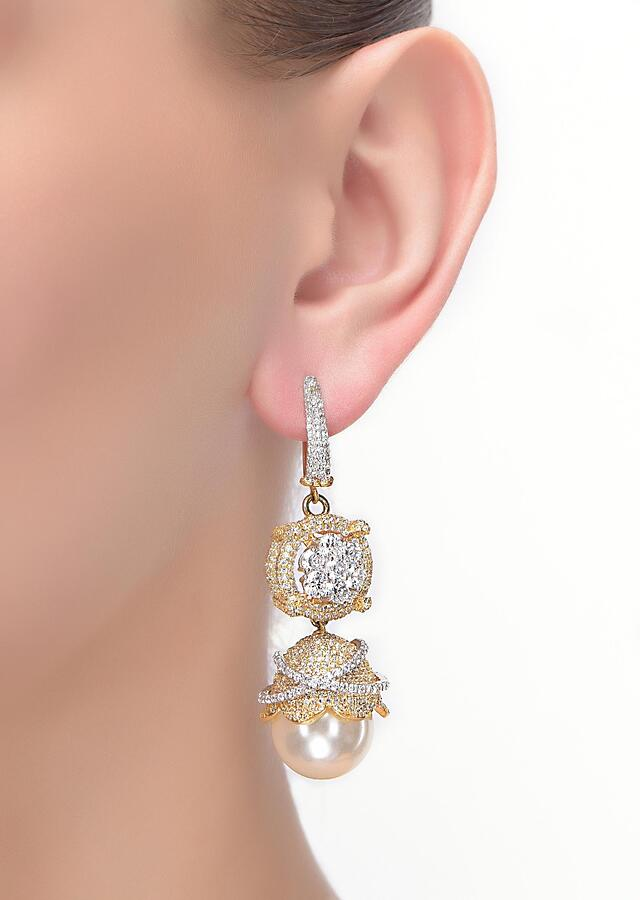 Gold And Silver Danglers Enhanced With Pearls, Stones And Crystals In Floral Pattern Online - Kalki Fashion