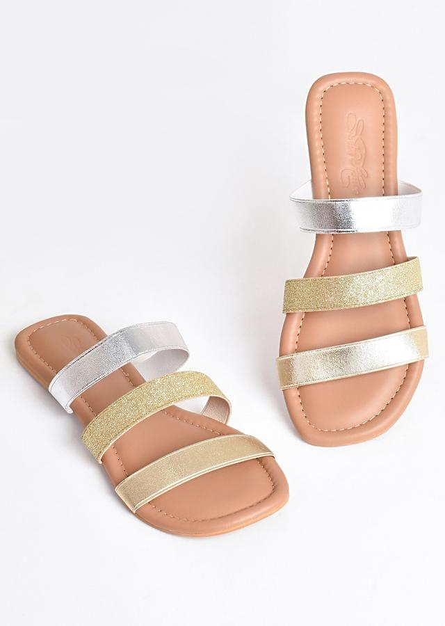 Gold And Silver Sliders With Elastic Glitter Straps By Sole House