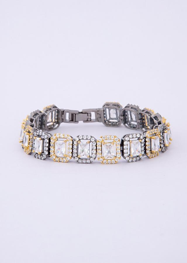 Gold and silver stone studded bracelet with crystal stone  only on Kalki
