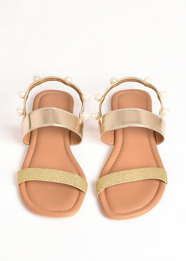 Gold Ankle Strap Flats With Glitter And Pearls By Sole House