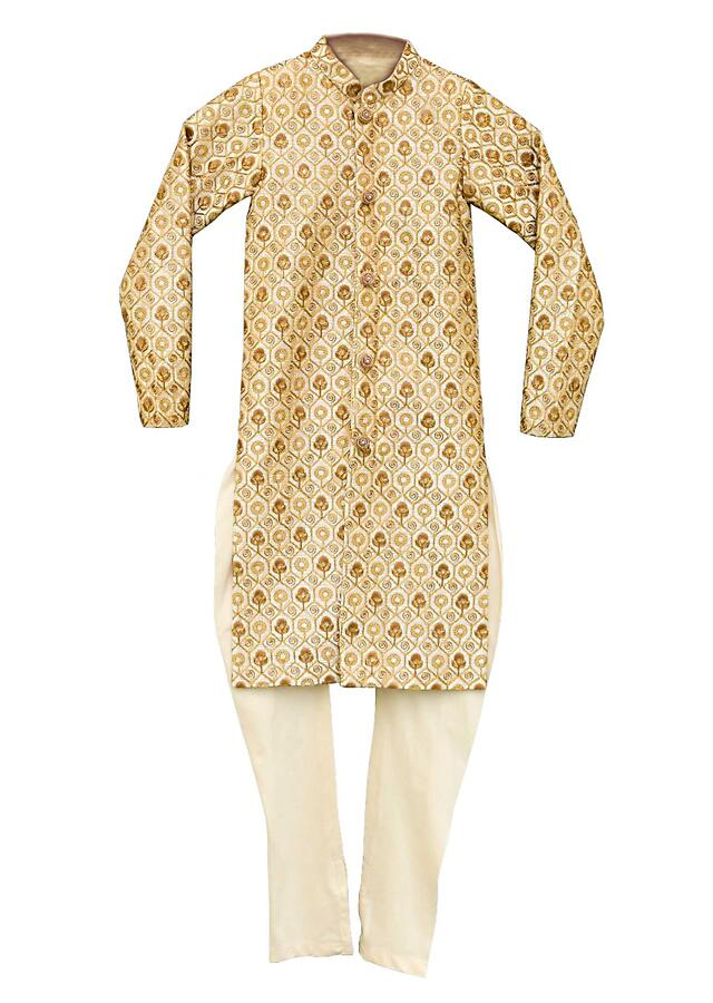 Gold Beige Ajkan With Embroidered Floral Buttis And Mesh Pattern All Over By Fayon Kids