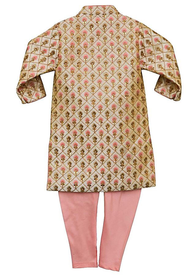 Gold Beige Ajkan With Jaal Embroidery And Churidar Bottoms By Fayon Kids