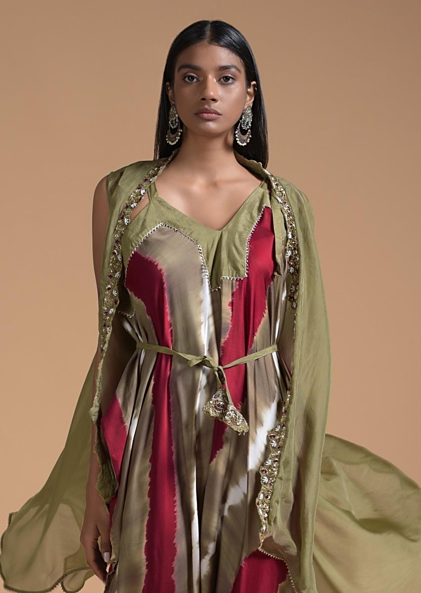 Buy Gold Beige And Red Tie-Dye Jumpsuit With Gold Beige Organza Jacket  Online - Kalki Fashion