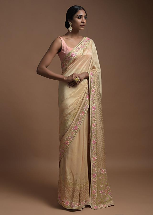 Gold Beige Banarasi Saree In Cotton Silk With Weaved Buttis And Mesh Pattern On The Border Online - Kalki Fashion