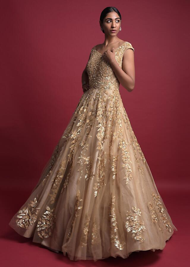 Gold Beige Gown In Net With Sequins And Zari Embroidered Leaf Pattern Online - Kalki Fashion
