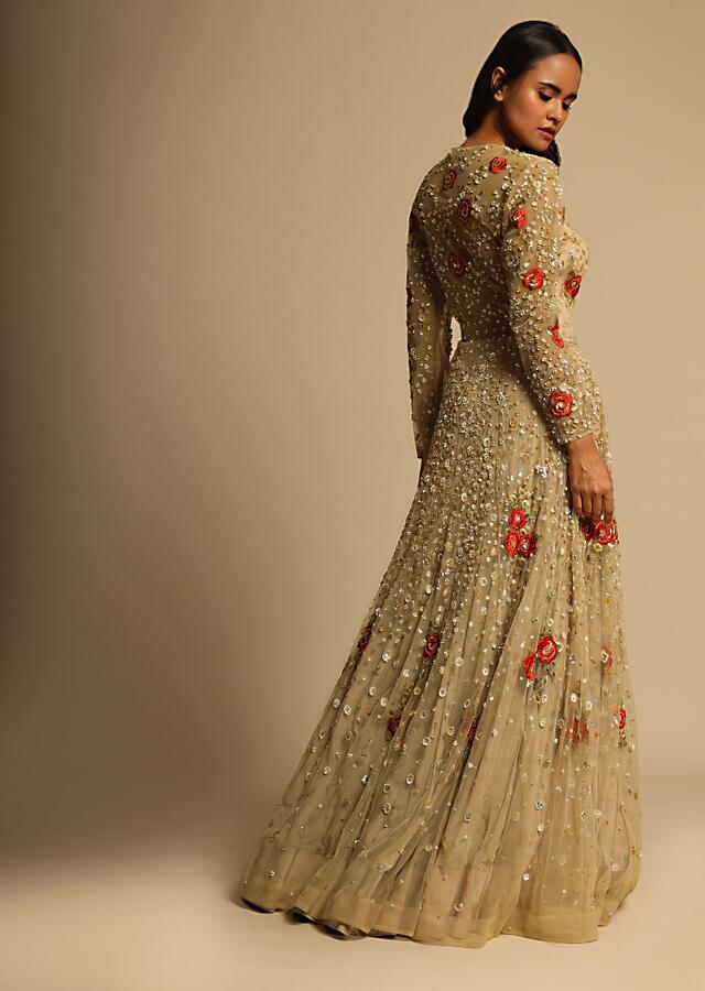 Gold Beige Gown In Net With Sequins Work All Over And Highlighted With Red Resham Embroidered Flowers Online - Kalki Fashion