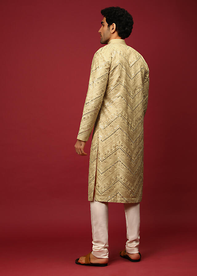 Gold Beige Kurta Set In Raw Silk Heavily Embroidered With Resham And Mirror Embroidery In Floral And Chevron Design Online - Kalki Fashion