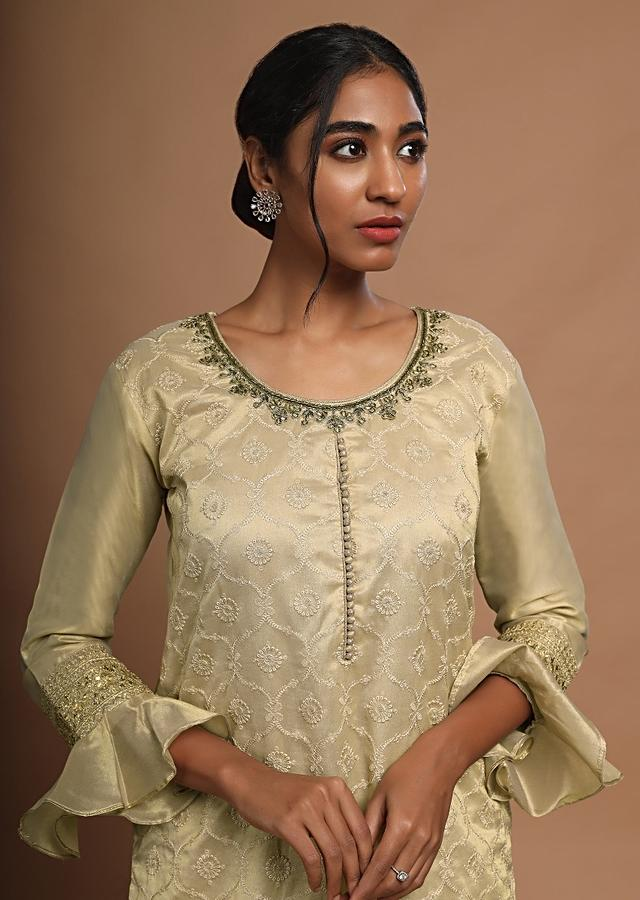 Gold Beige Palazzo Suit With Resham Embroidered Moroccan Jaal And Ruffle Sleeves Online - Kalki Fashion