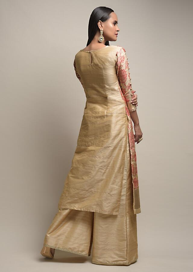 Gold Beige Palazzo Suit With Woven Floral Jaal And Red Dupatta With Bandhani And Brocade Design Online - Kalki Fashion