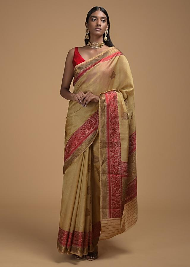 Gold Beige Pure Handloom Saree In Tussar Silk With Woven Floral Buttis And Red Border Online - Kalki Fashion