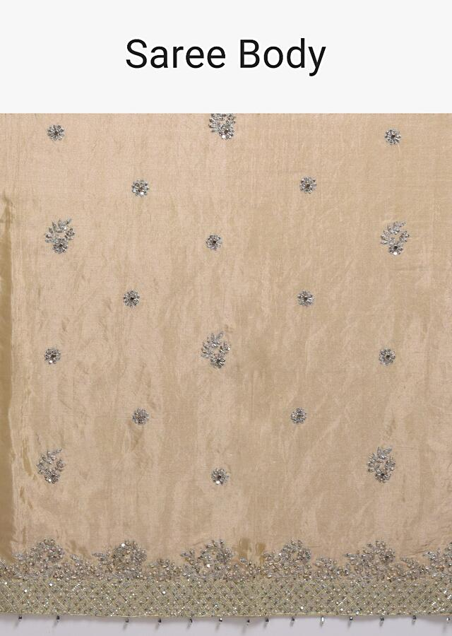 Gold Beige Saree In Dupion Silk With Cord And Zardosi Embroidered Floral Buttis And Border Online - Kalki Fashion