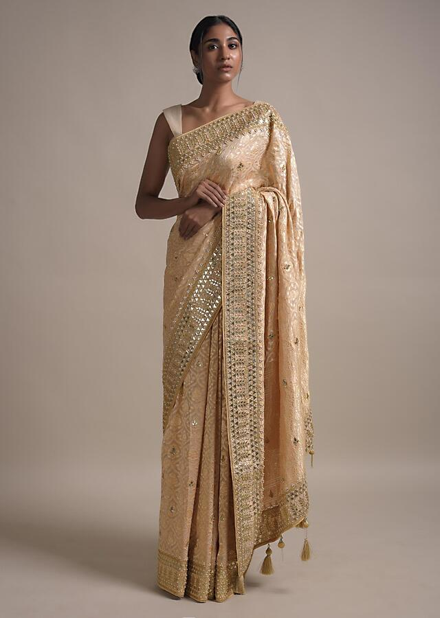 Gold Beige Saree In Georgette With Weaved Moroccan Jaal And Gotta Embroidered Border Online - Kalki Fashion