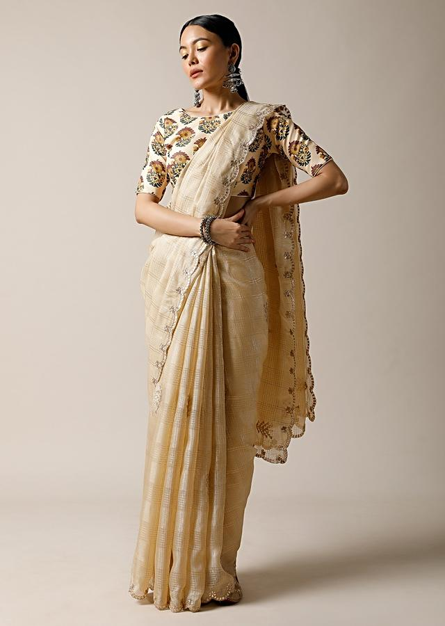 Gold Beige Saree In Kota Silk With Gotta Patti Embroidered Buttis And Border Along With Printed Unstitched Blouse Online - Kalki Fashion
