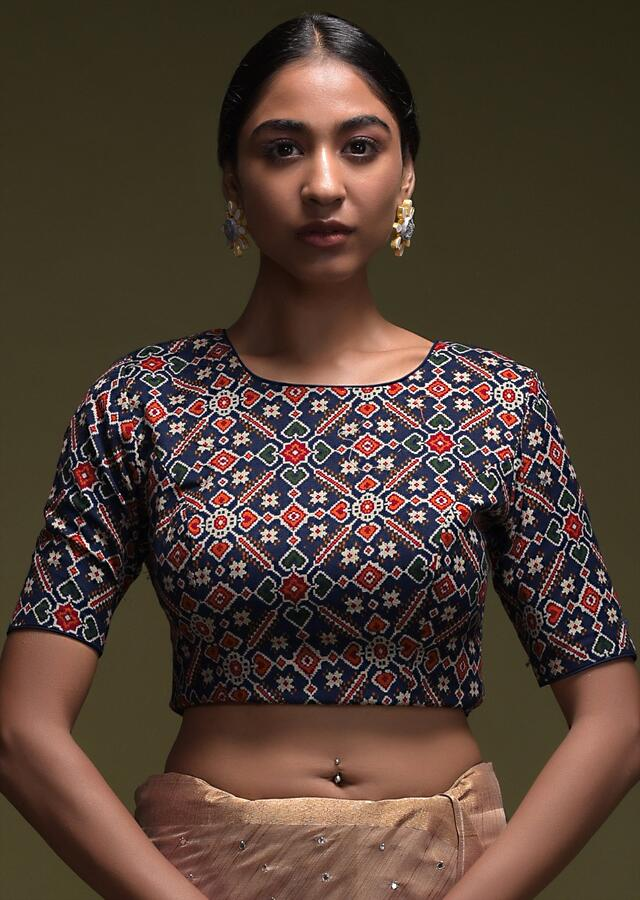 Gold Beige Saree In Linen With Abla Buttis And Navy Blue Patola Printed Blouse Online - Kalki Fashion