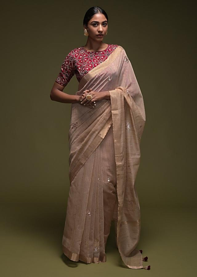 Gold Beige Saree In Linen With Gotta Work Buttis And Red Patola Printed Blouse Online - Kalki Fashion
