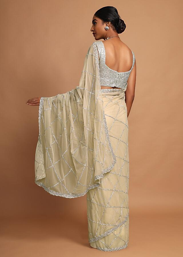 Gold Beige Saree In Net With Stone And Moti Embroidered Checks And Floral Motifs Online - Kalki Fashion