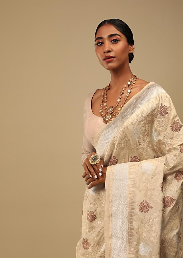 Gold Beige Saree In Pure Handloom Silk With Three Toned Woven Floral Jaal, Geometric Motifs On The Pallu And Unstitched Blouse Online - Kalki Fashion