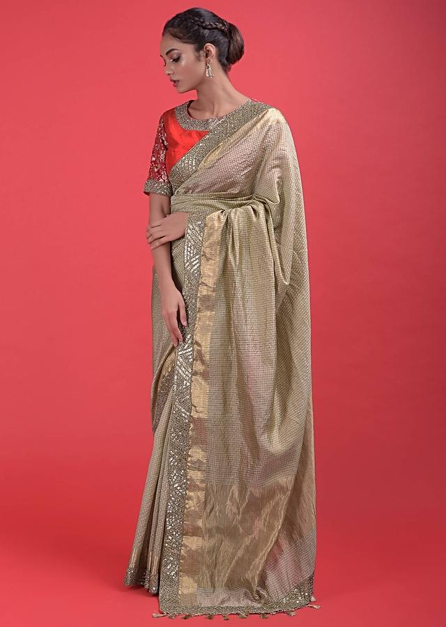 Gold Beige Saree In Silk With Weaved Checks And Embellished Border Online - Kalki Fashion