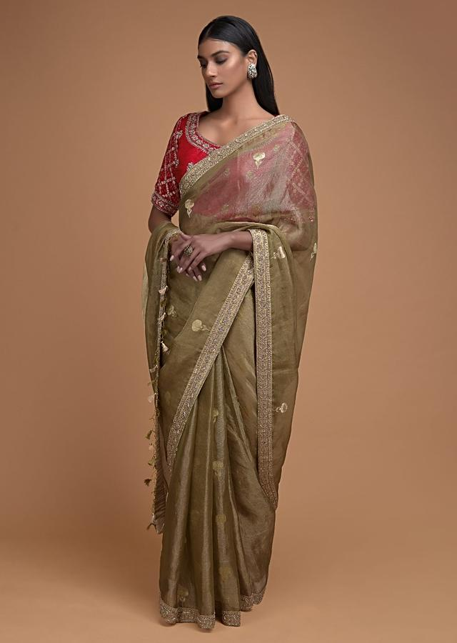 Gold Beige Saree In Tissue Silk With Weaved Floral Buttis And Bandhani Printed Blouse Online - Kalki Fashion
