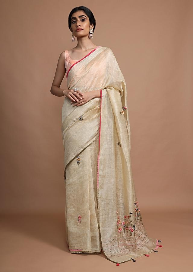 Gold Beige Saree In Tussar Silk With Bud Embroidered Floral Buttis Using Colorful Threads Online - Kalki Fashion