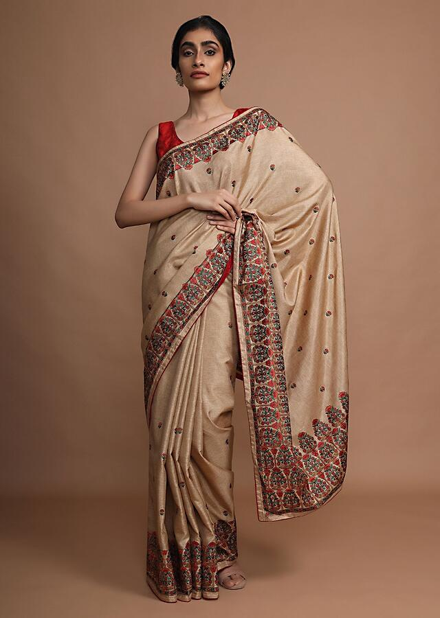 Gold Beige Saree With Colorful Resham Embroidered Floral Design On The Border And Butti Work Online - Kalki Fashion