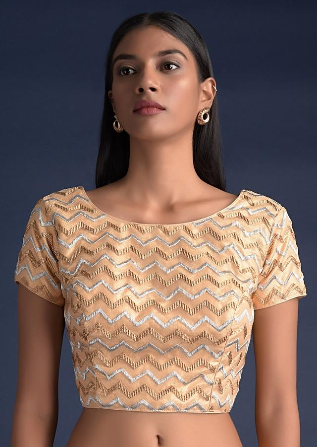 Gold Blouse In Net With Silver And Gold Zari Embroidered Chevron Pattern Online - Kalki Fashion