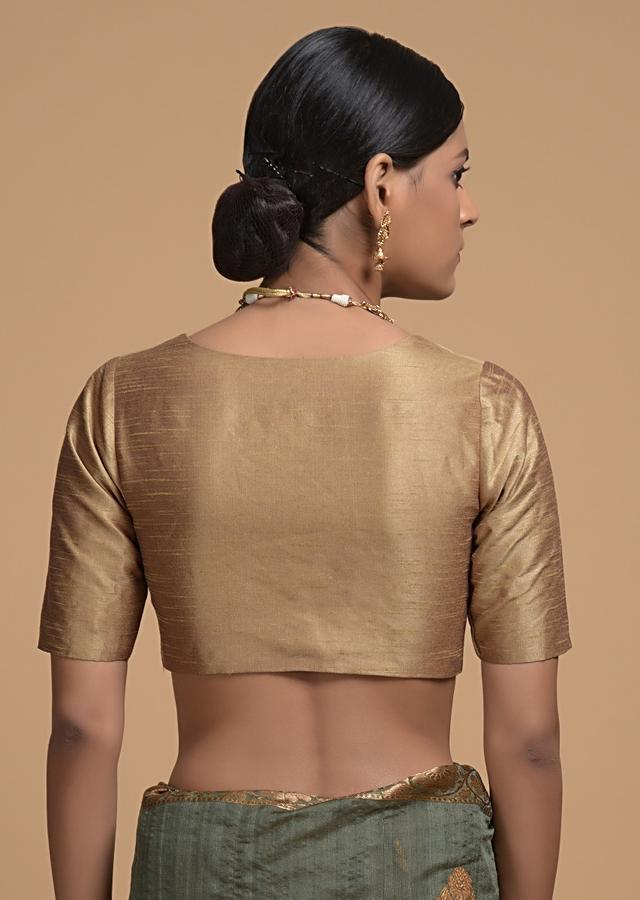 Gold Blouse In Raw Silk With Plunging Neckline And Half Sleeves Online - Kalki Fashion