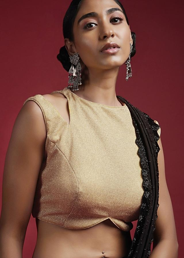 Gold Blouse In Shimmer Fabric With Cutouts On The Shoulder And Curved Hem Online - Kalki Fashion