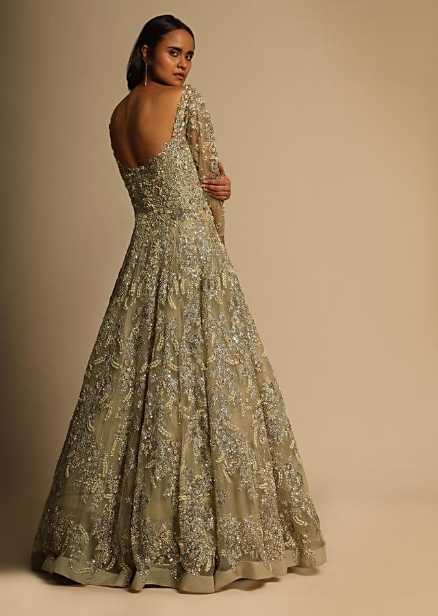 Gold Bridal Gown In Net Heavily Embroidered With Zari, Sequins And Moti Embroidered Floral Design All Over Online - Kalki Fashion