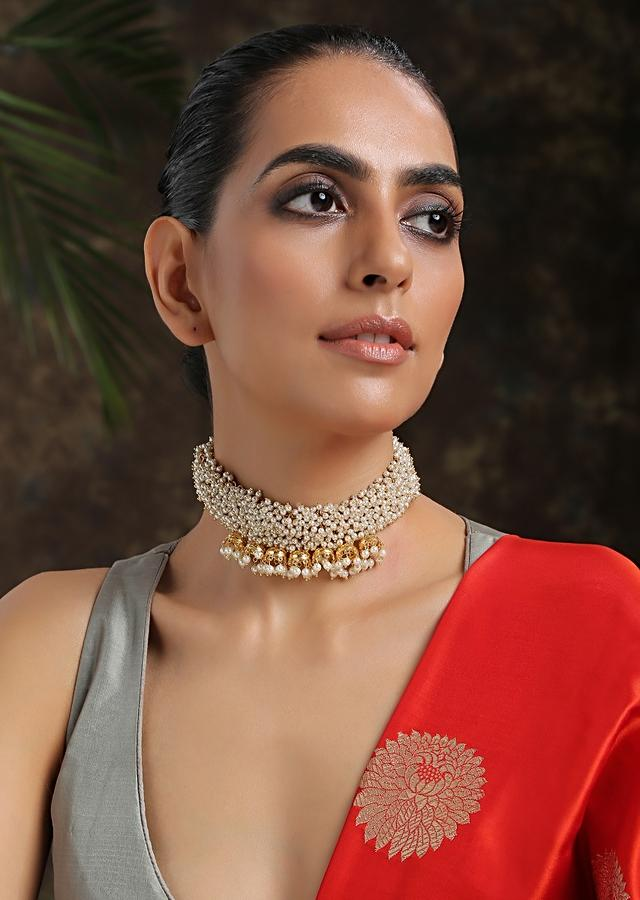 Gold Choker Necklace With Shell Pearls And Attached Nano Jhumkas Adorned With Trinkets Of Pearls By Paisley Pop